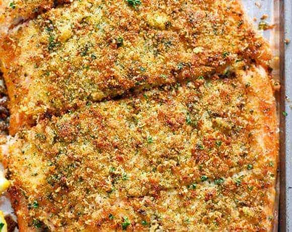 Crispy Garlic Parmesan Salmon Recipe (+ VIDEO)
