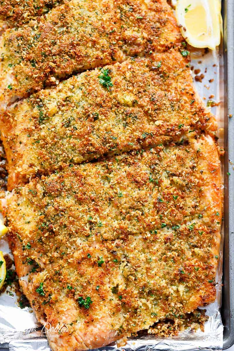 Crispy Garlic Parmesan Salmon is ready and 0n your table in less than 15 minutes, with a 5-ingredient crispy top! Restaurant quality salmon right at home! | https://cafedelites.com
