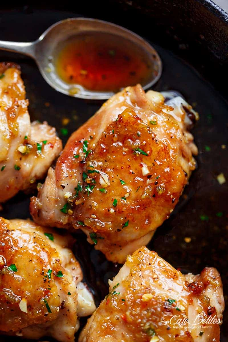 Sticky and Easy Honey Garlic Chicken made simple, with the most amazing 5-ingredient honey garlic sauce that is so good you'll want it on everything! | https://cafedelites.com