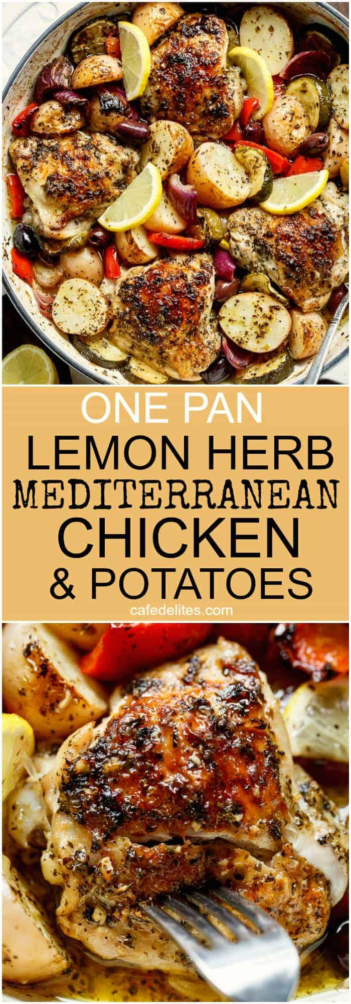 Garlic Lemon Herb Mediterranean Chicken And Potatoes, all made in the ONE PAN for an easy weeknight dinner the whole family will love! | https://cafedelites.com