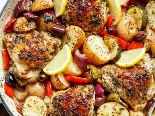 Garlic lemon herb mediterranean chicken potatoes one pan garlic lemon herb mediterranean chicken potatoes one pan cafe delites forumfinder Images