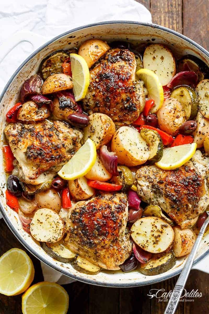 Garlic Lemon Herb Mediterranean Chicken Potatoes One Pan Cafe Delites