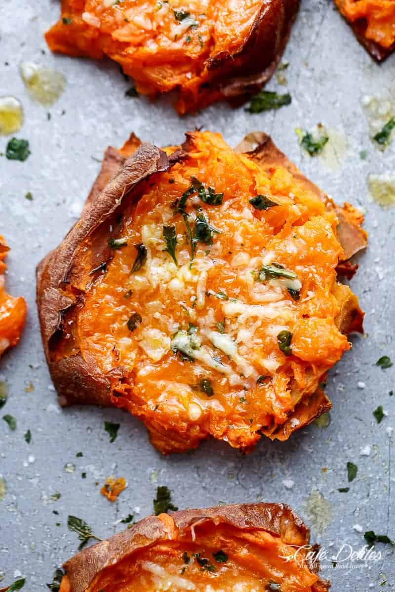 Garlic Butter Smashed Sweet Potatoes With Parmesan - Cafe ...