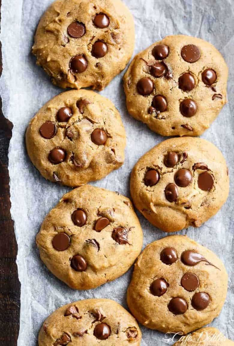 Soft Pumpkin Chocolate Chip Cookies are crispy on the edges and soft and chewy in the centre! The perfect cookie for the season! | https://cafedelites.com