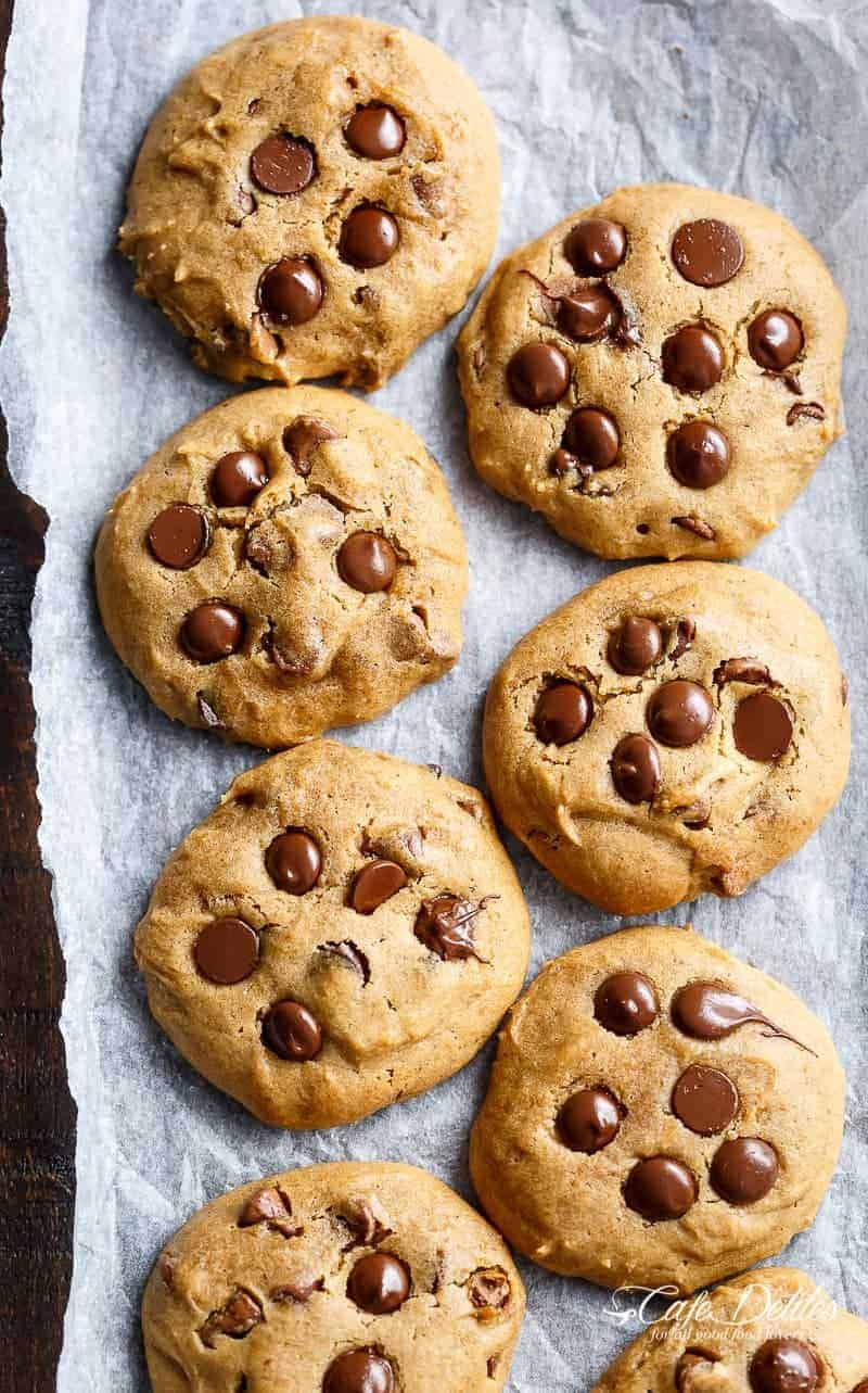 Soft Pumpkin Chocolate Chip Cookies | https://cafedelites.com