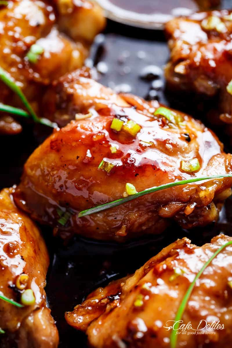 Garlic Teriyaki Chicken Thighs | https://cafedelites.com