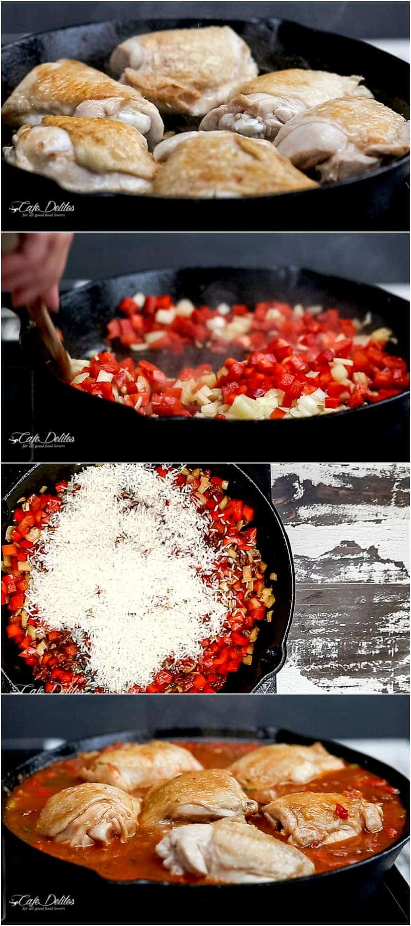 One Pan Tomato Basil Chicken & Rice | https://cafedelites.com
