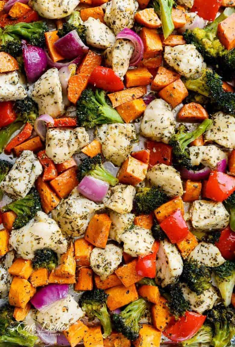 Garlic Herb Chicken & Sweet Potato Sheet Pan Meal Prep