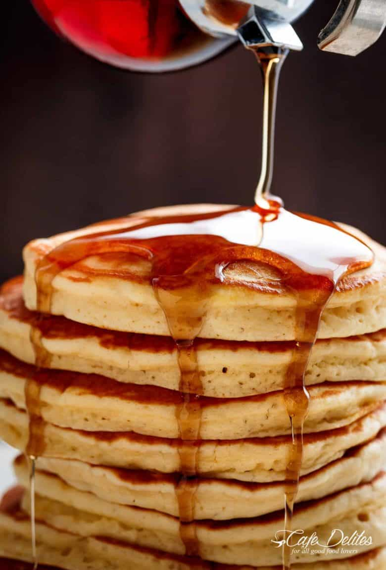 Look no further because a steaming stack of perfectly soft, Best Fluffy Pancakes are right here! Weekends will never be the same again! | https://cafedelites.com