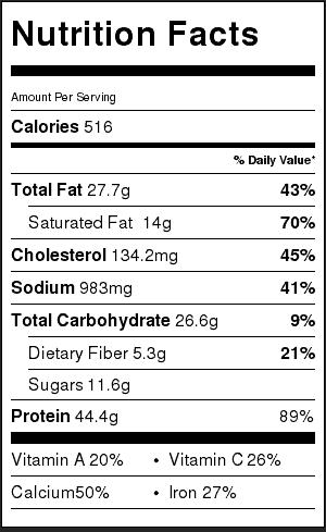 spaghetti-squash-lasagna-boats-nutrition-label