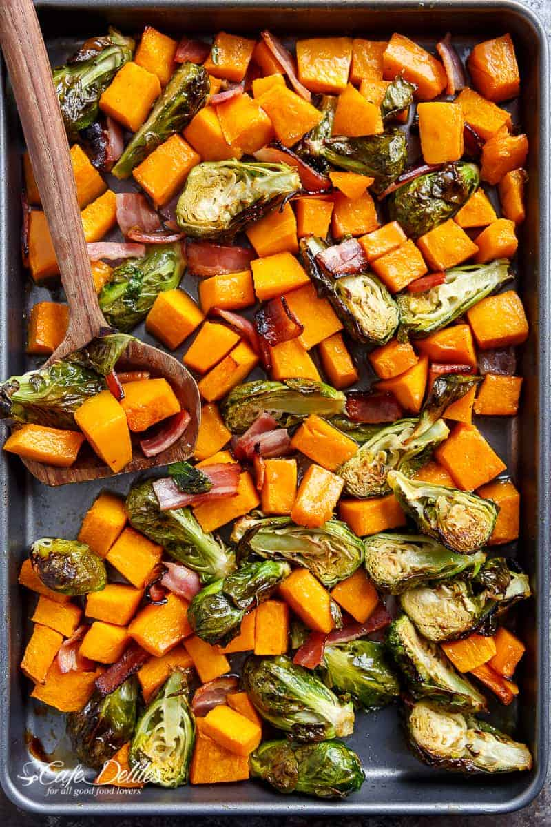 Honey Roasted Butternut Squash & Brussels Sprouts With Bacon | https://cafedelites.com