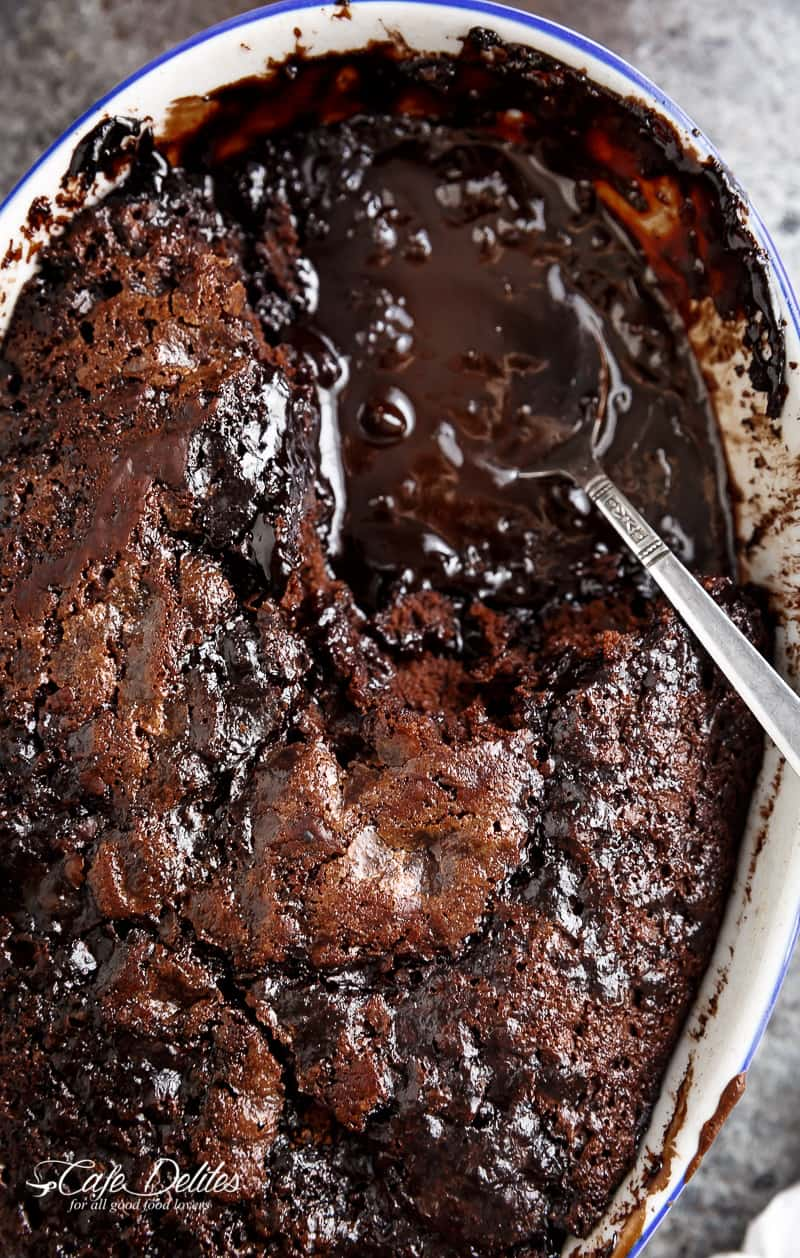 Hot Fudge Chocolate Pudding Cake is extremely easy to make! A rich chocolate fudge sauce forms underneath a layer of chocolate cake while baking, by itself! | https://cafedelites.com