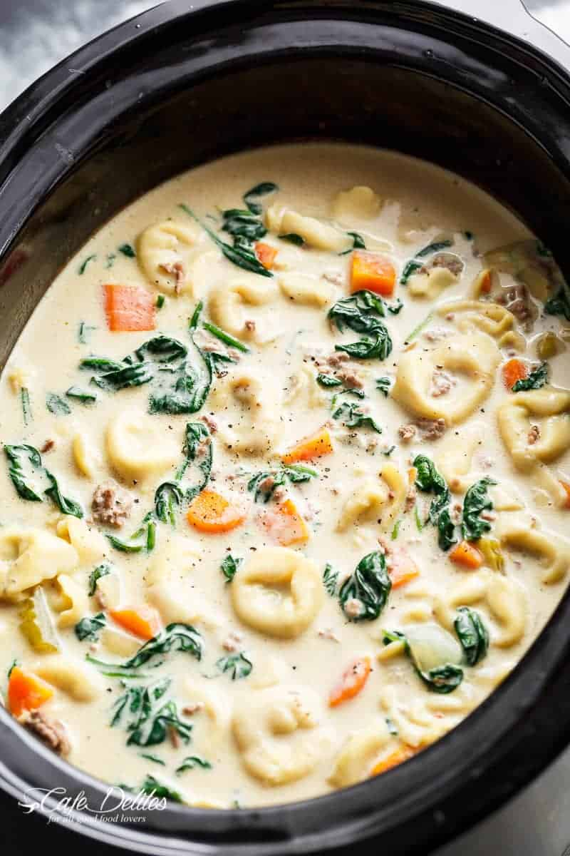 Slow Cooker Creamy Tortellini Soup Cafe Delites