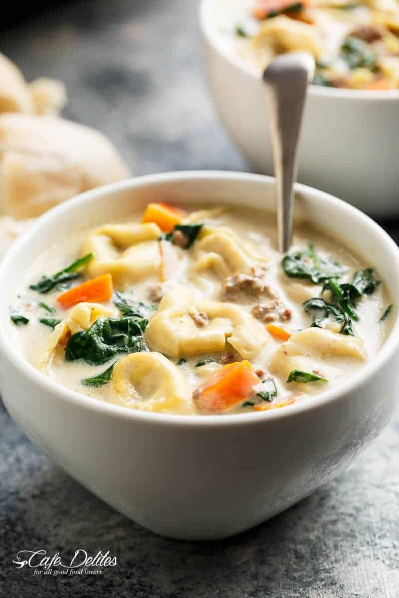 Slow Cooker Creamy Tortellini Soup | https://cafedelites.com
