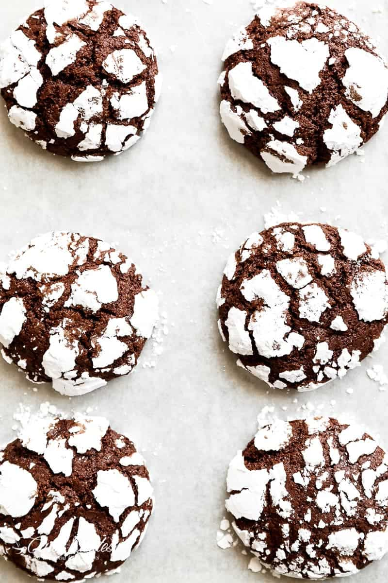 Fudgy Chocolate Crinkle Cookies - Cafe Delites