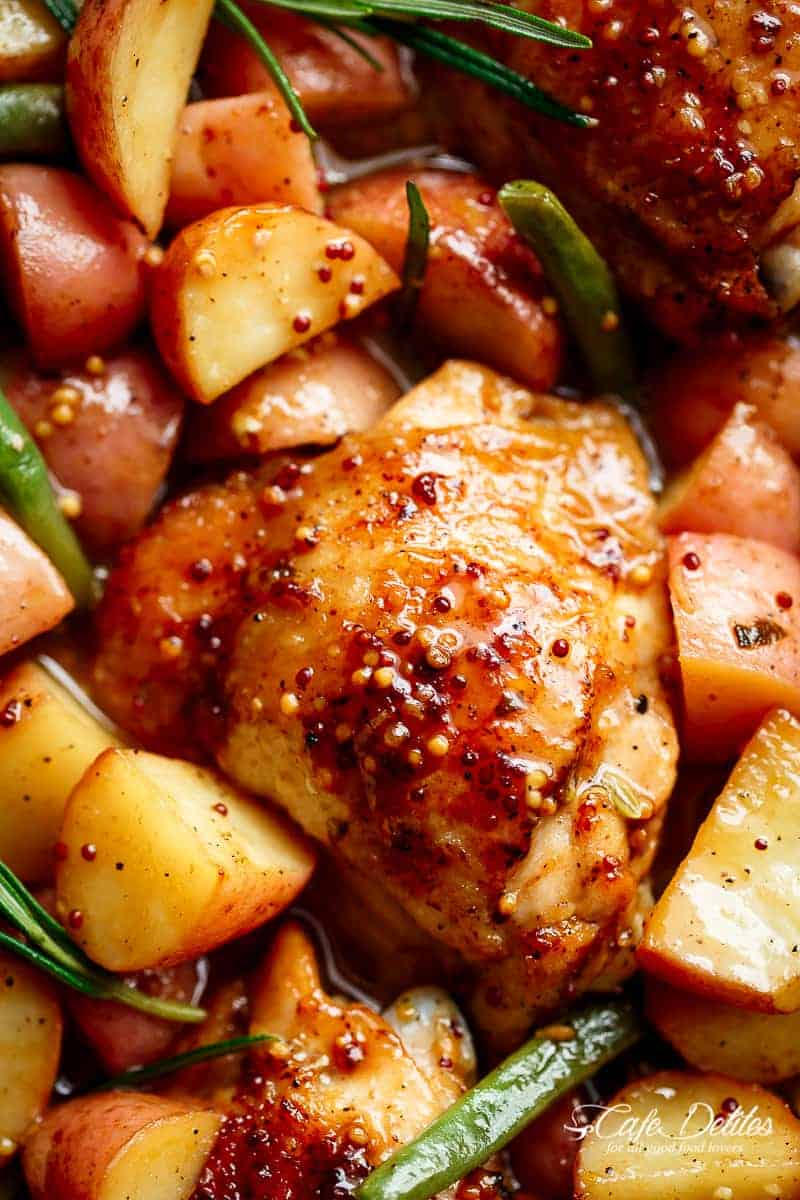 Honey Mustard Chicken & Potatoes | https://cafedelites.com
