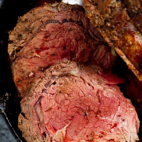 Garlic Herb Prime Rib Roast is the perfect Christmas dinner, full of flavour and ready in under one hour! | https://cafedelites.com