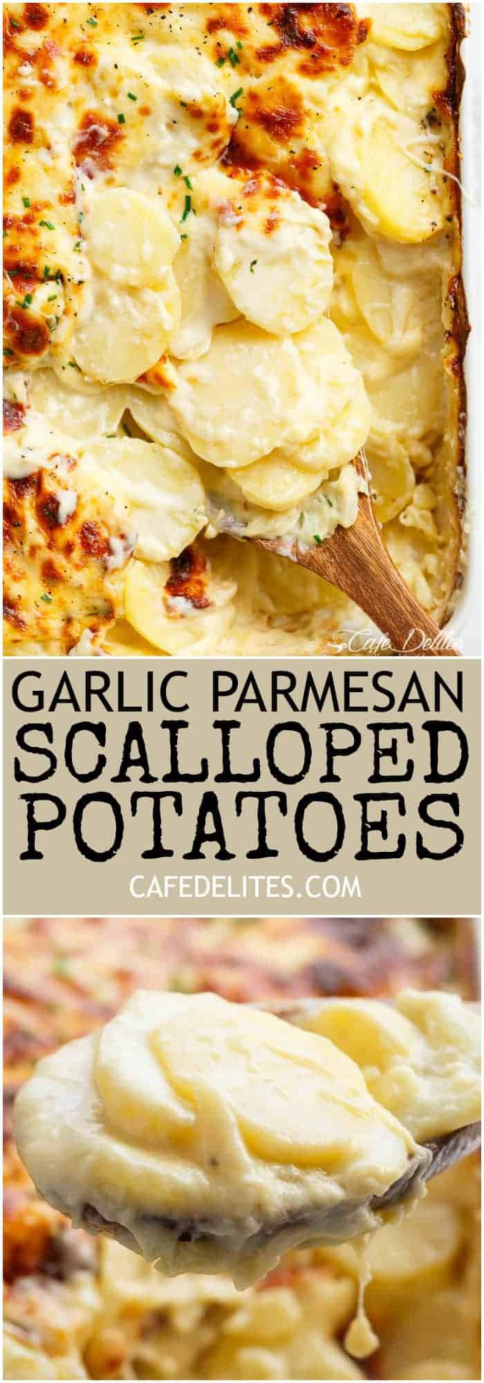Garlic Parmesan Scalloped Potatoes Layered In A Creamy Garlic Sauce With Parmesan And Mozzarella Is The