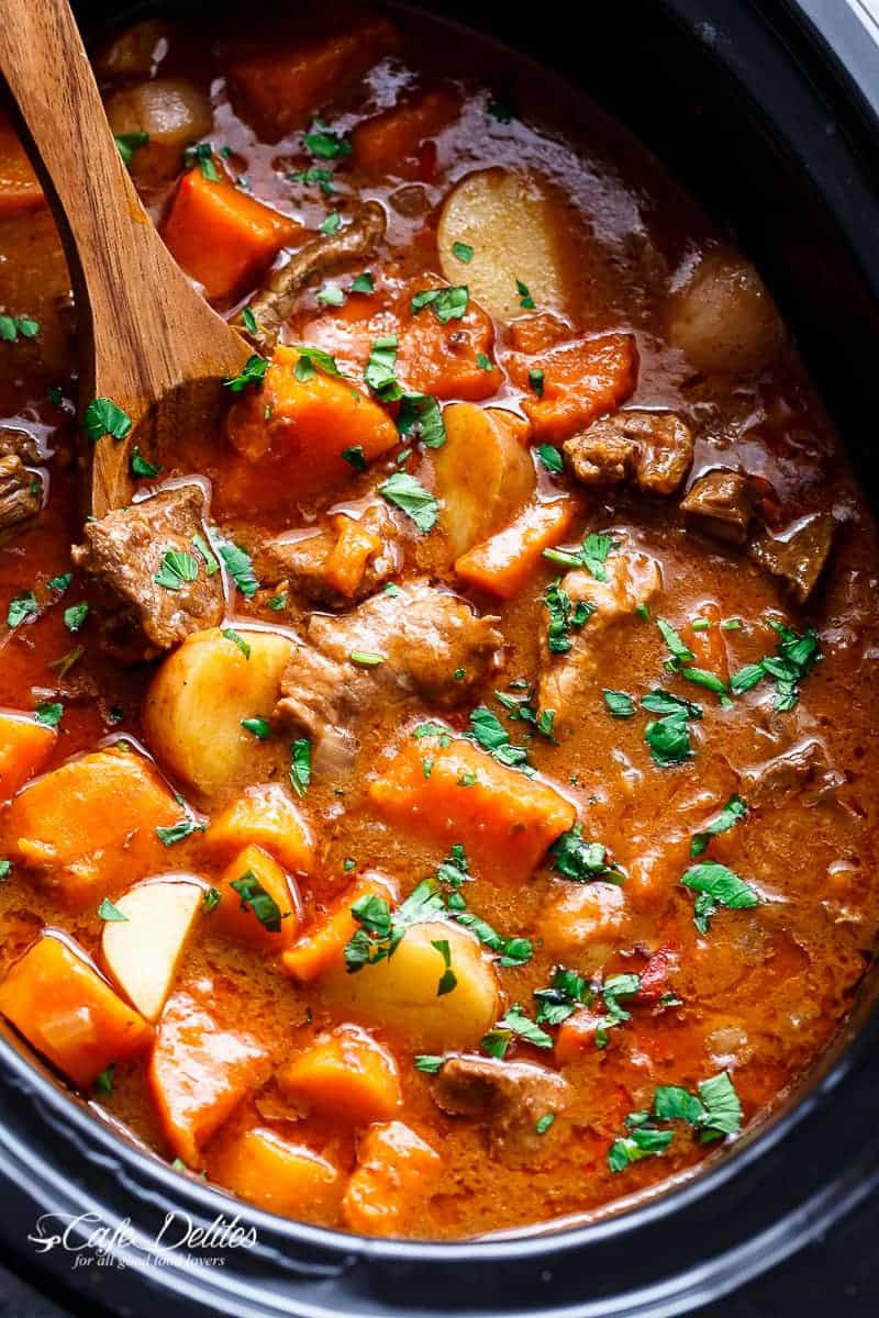 Slow Cooker Beef & Sweet Potato Stew