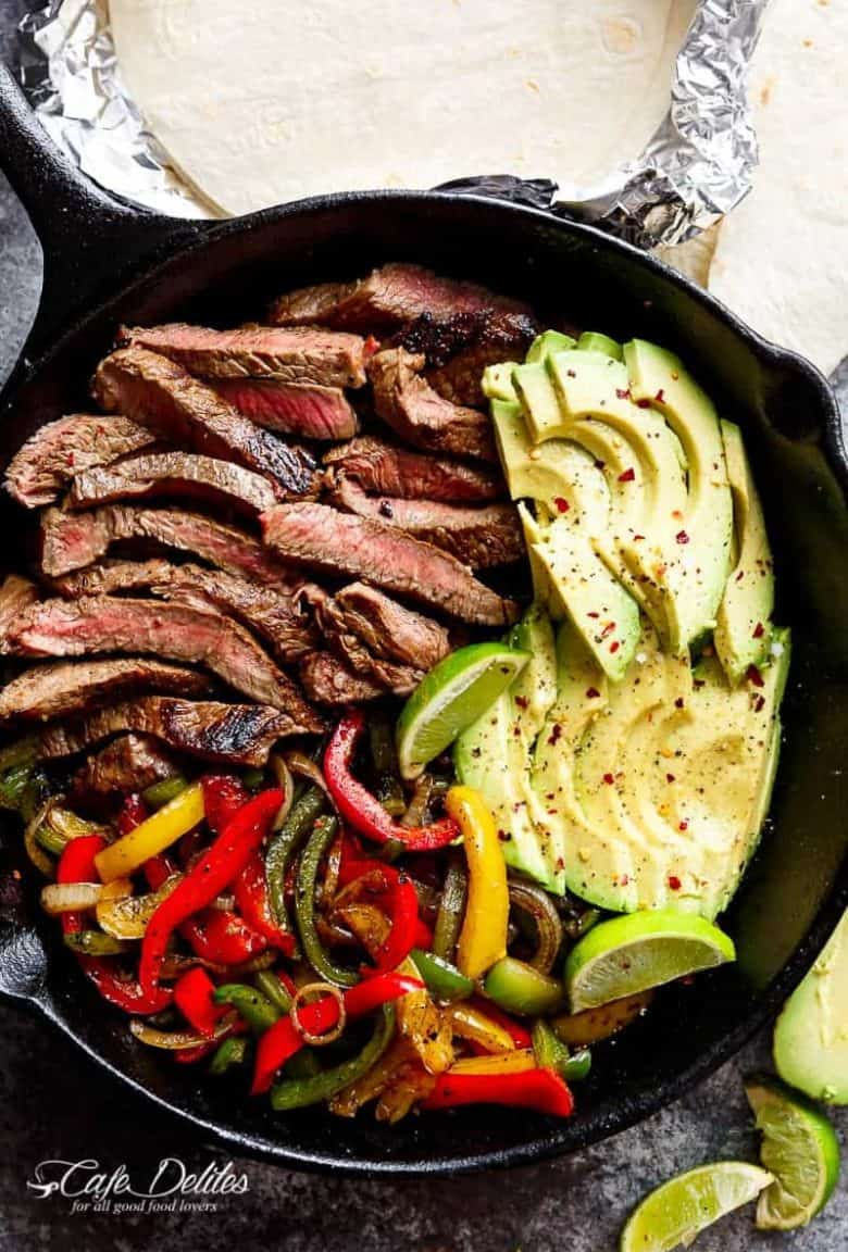 Chili Lime Steak Fajitas are so juicy and full of incredible flavours! The secret lies in this incredibly popular marinade! | https://cafedelites.com