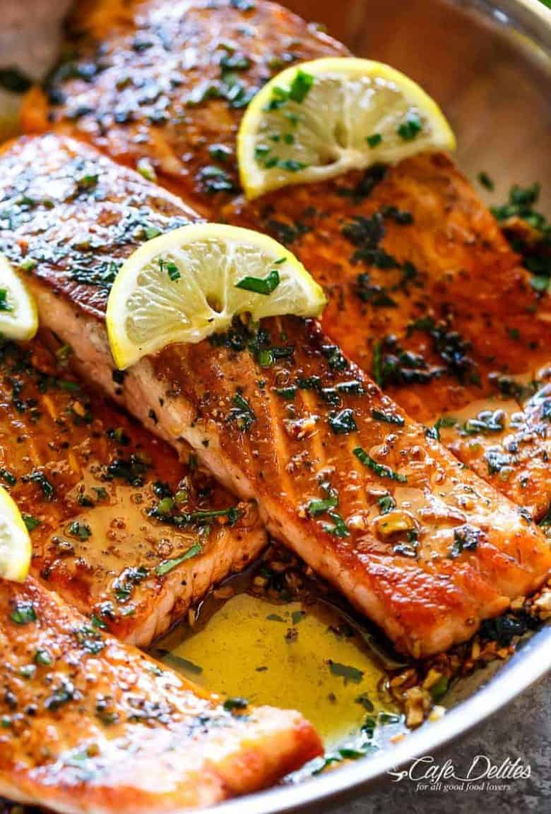 Crispy Seared Lemon Garlic Herb Salmon