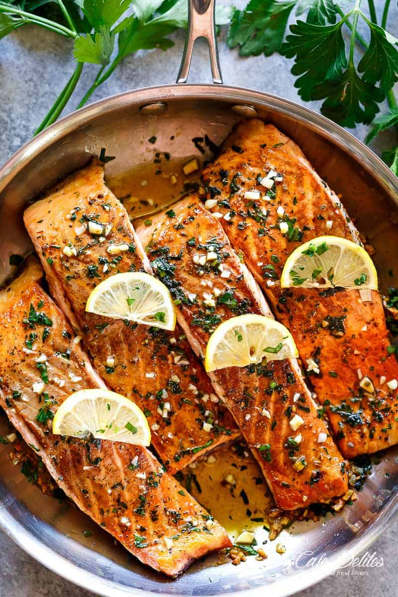 Pan Seared Salmon With Lemon Garlic Butter Sauce Cafe Delites