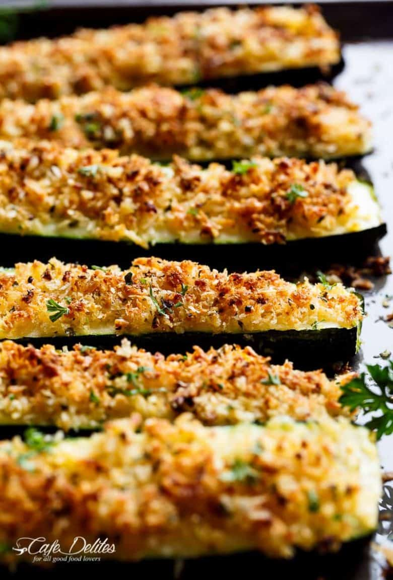 Parmesan Crusted Zucchini are easy to make and are one of THE best ways to enjoy zucchini! Crispy and crunchy, the perfect side dish OR snack! | https://cafedelites.com