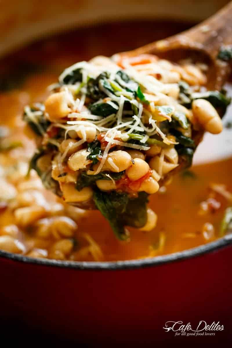 Bean Soup ready in 10 minutes is your kind of soup! Make a double batch and have plenty of leftovers for the weekly dinner rush! | https://cafedelites.com