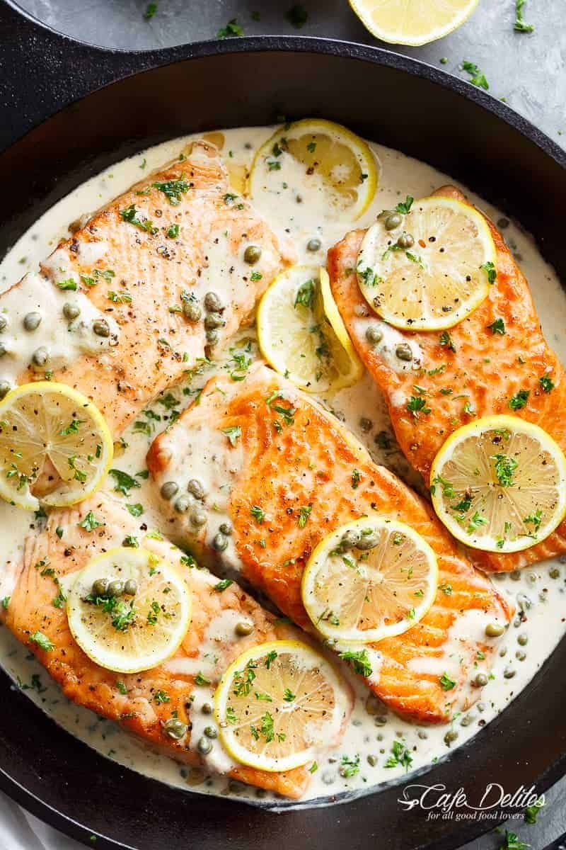 Creamy Lemon Garlic Salmon Piccata Cafe Delites