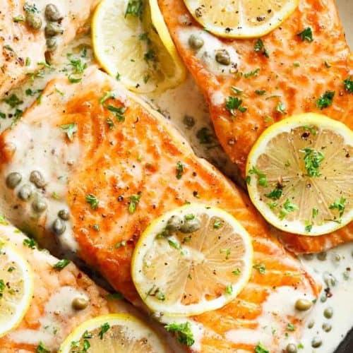 Creamy Lemon Garlic Salmon Piccata Cafe Delites
