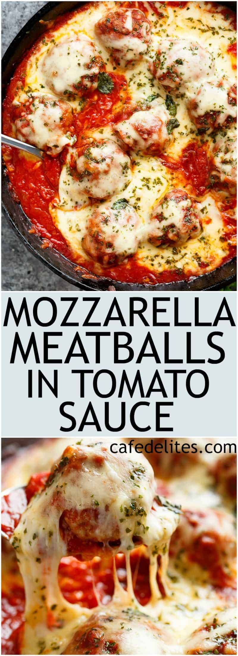 Mozzarella Meatballs In Tomato Sauce are juicy and soft meatballs, simmered in a homemade tomato sauce and topped with melted mozzarella! | https://cafedelites.com