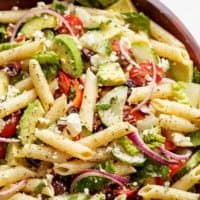 Lemon Herb Mediterranean Pasta Salad is loaded with so many Mediterranean salad ingredients, and drizzled an incredible Lemon Herb dressing!   https://cafedelites.com