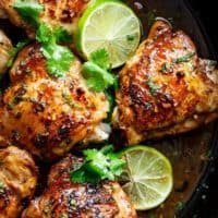 Crispy Cilantro Lime Chicken is juicy on the inside, golden and crisp on the outside, cooked in mouth watering flavourful pan drippings! | https://cafedelites.com
