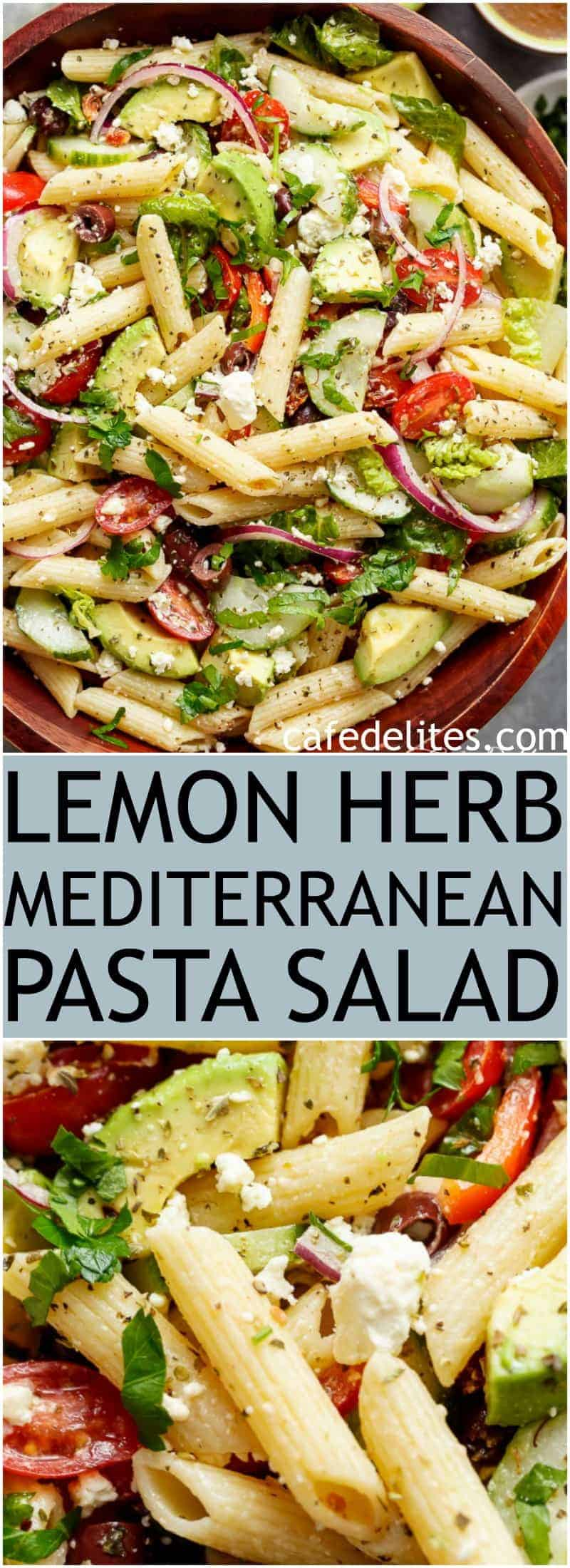 Lemon Herb Mediterranean Pasta Salad is loaded with so many Mediterranean salad ingredients, and drizzled an incredible Lemon Herb dressing! | https://cafedelites.com
