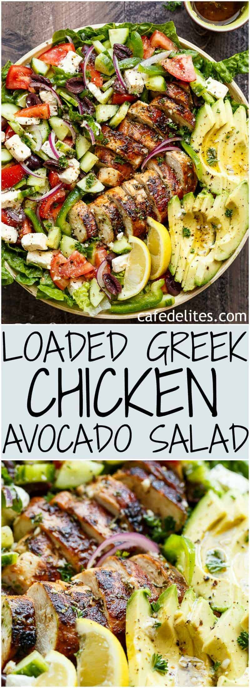 Loaded Greek Chicken Avocado Salad is another meal in a salad! Full of Greek flavours and a 5-ingredient dressing that doubles as a marinade!   https://cafedelites.com