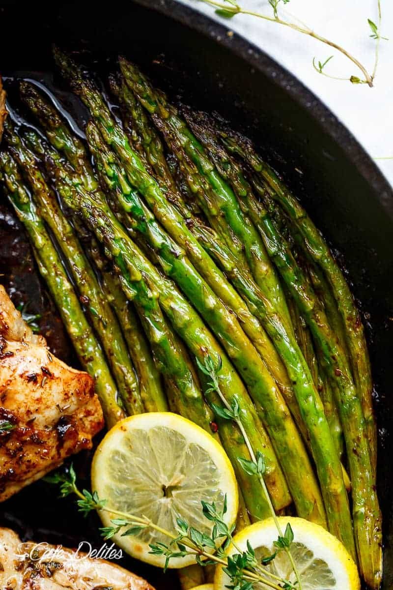 One Pan Lemon Butter Chicken Asparagus is a super easy 'throw-together' recipe. Made with only a handful of uncomplicated ingredients! | https://cafedelites.com