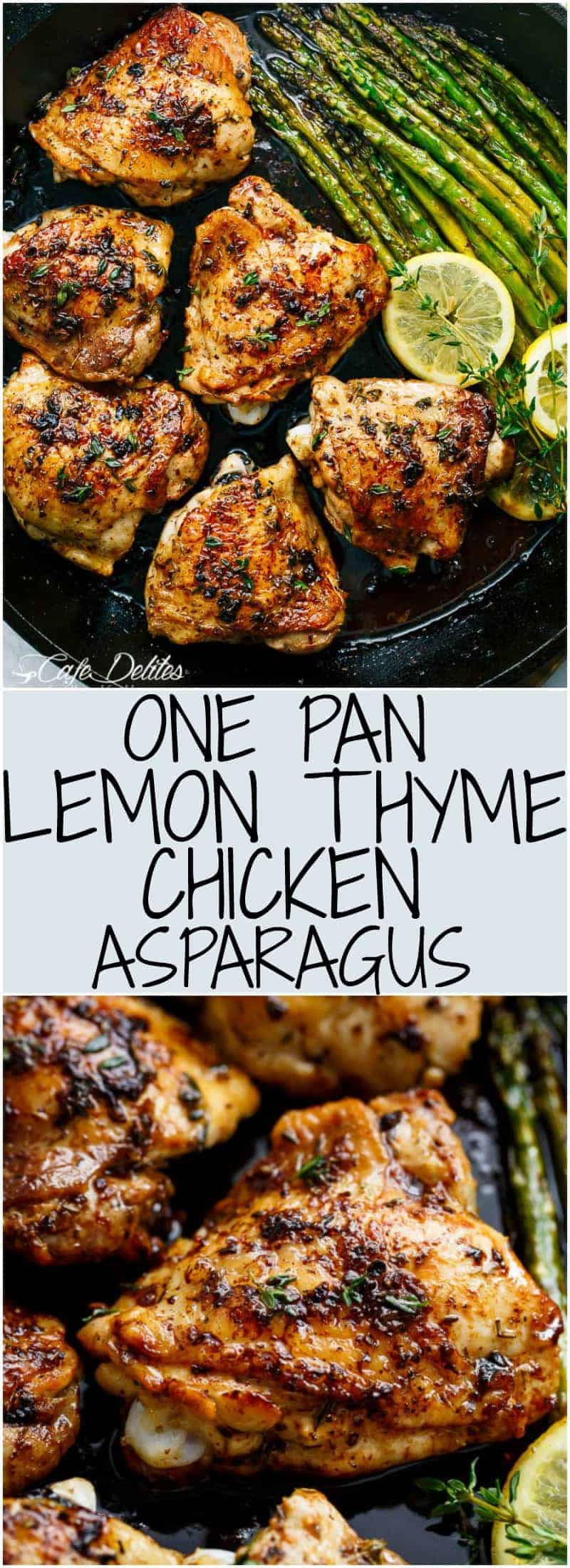 One Pan Lemon Thyme Chicken Asparagus is a super easy 'throw-together' recipe. Healthy and made with only a handful of uncomplicated ingredients!   https://cafedelites.com
