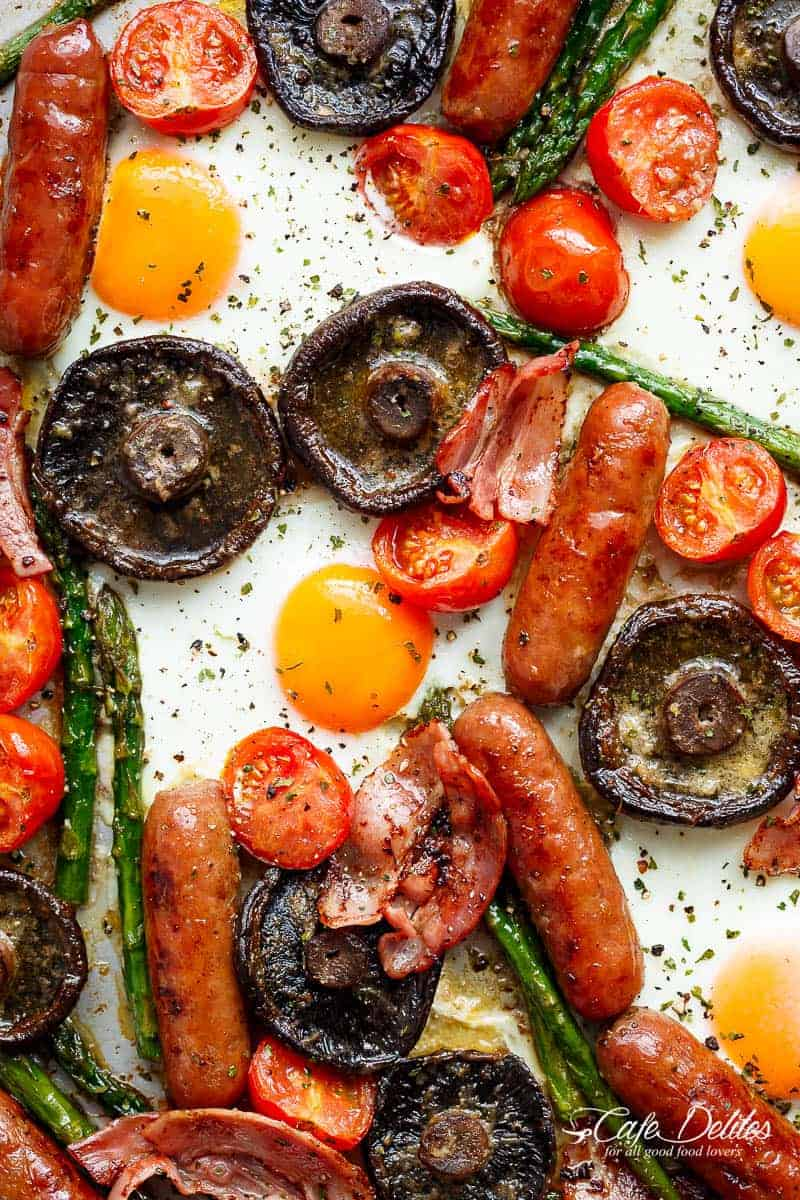 Sheet Pan Full Breakfast Complete With Eggs Bacon Sausages Tomatoes Asparagus