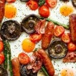 Sheet Pan Full Breakfast With Garlic Butter Mushrooms