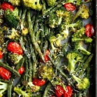 Sheet Pan Garlic Parmesan Roasted Broccoli & Green Beans is an easy-to-make and easier to eat side dish for any meal! A family and reader favourite! | https://cafedelites.com