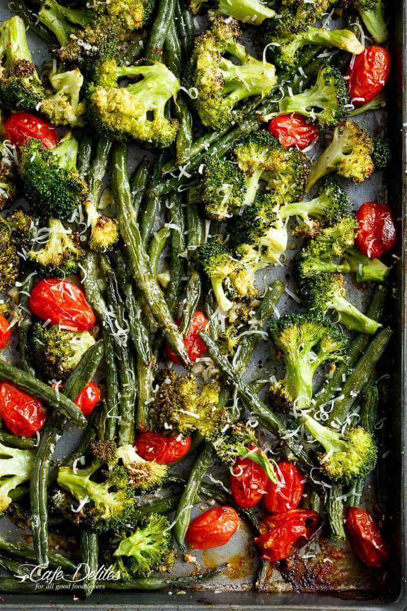 Sheet Pan Garlic Parmesan Roasted Broccoli & Green Beans