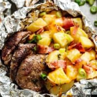 Steak & Cheesy Bacon Potato Hash Foil Packs | https://cafedelites.com