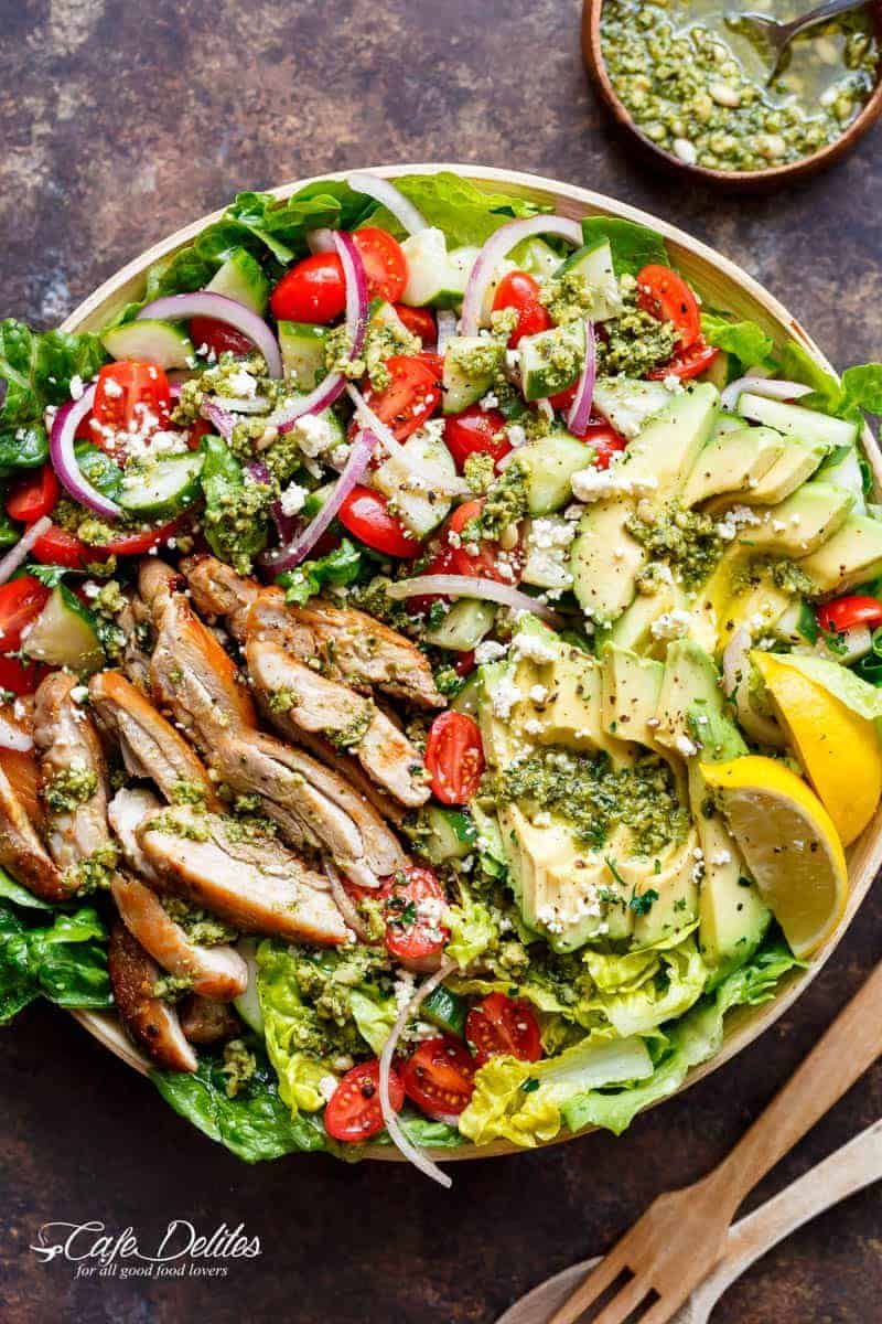 Pesto Grilled Chicken Avocado Salad Cafe Delites