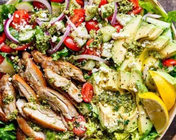 Pesto Grilled Chicken Avocado Salad