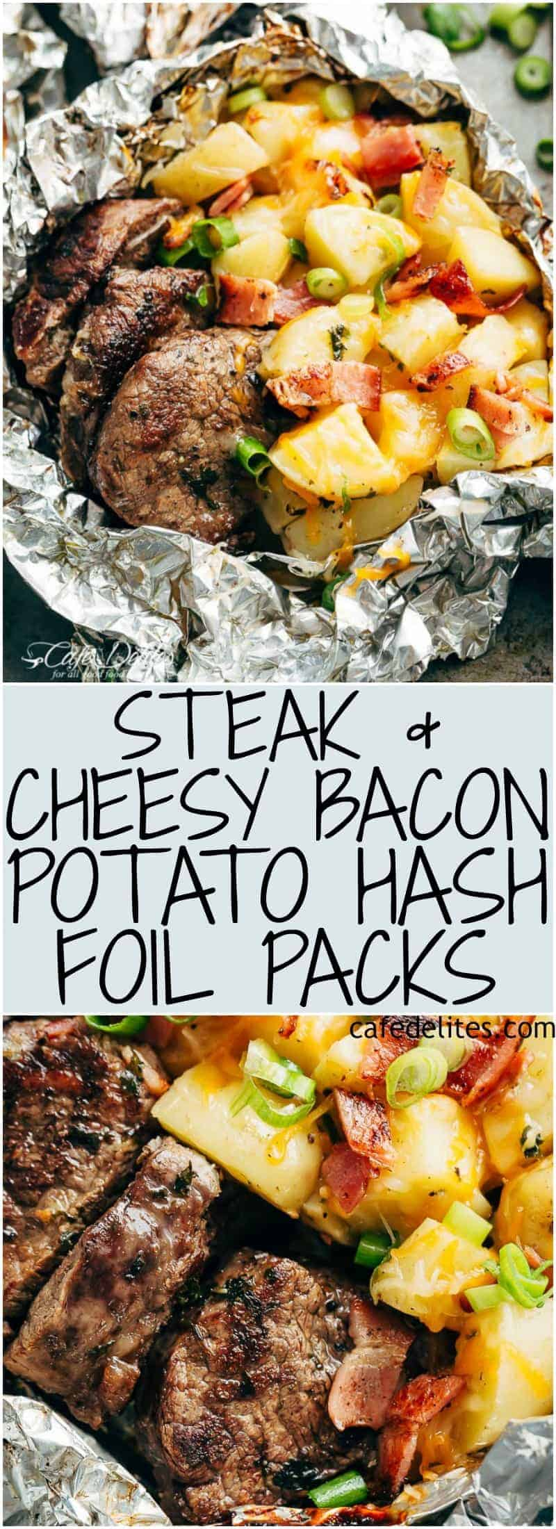 Steak & Cheesy Bacon Potato Hash Foil Packs can be cooked on the grill, stove top OR oven! Two favourites cooked in ONE PACK means NO pans to wash up! | https://cafedelites.com