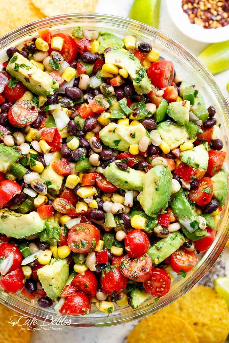 Chili Lime Texas Caviar (also known as Cowboy Caviar) is the BEST salad, side dish or appetiser for any occasion! Vegan AND gluten free! | https://cafedelites.com