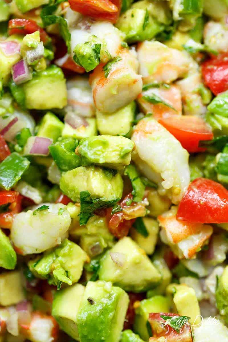Chunky Shrimp Guacamole | cafedelites.com