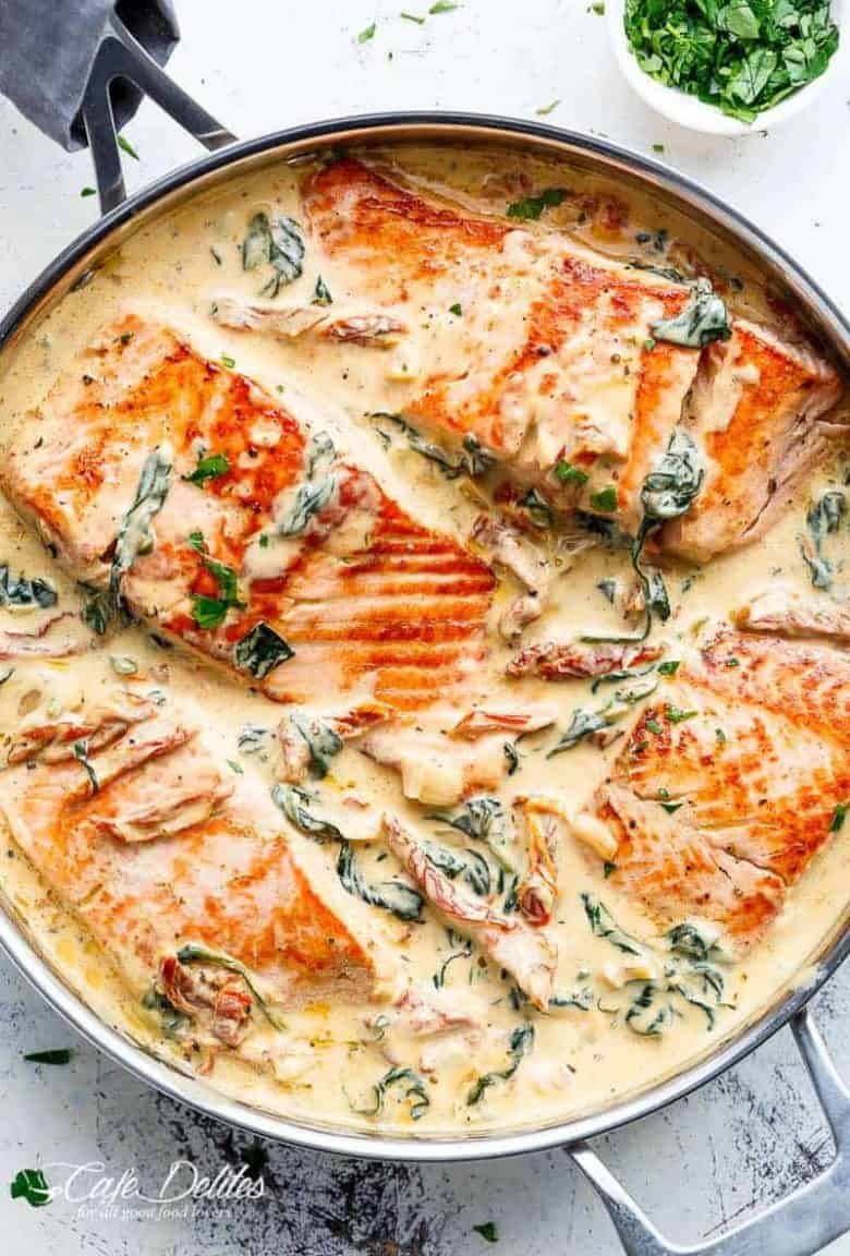 Creamy Garlic Butter Tuscan Salmon