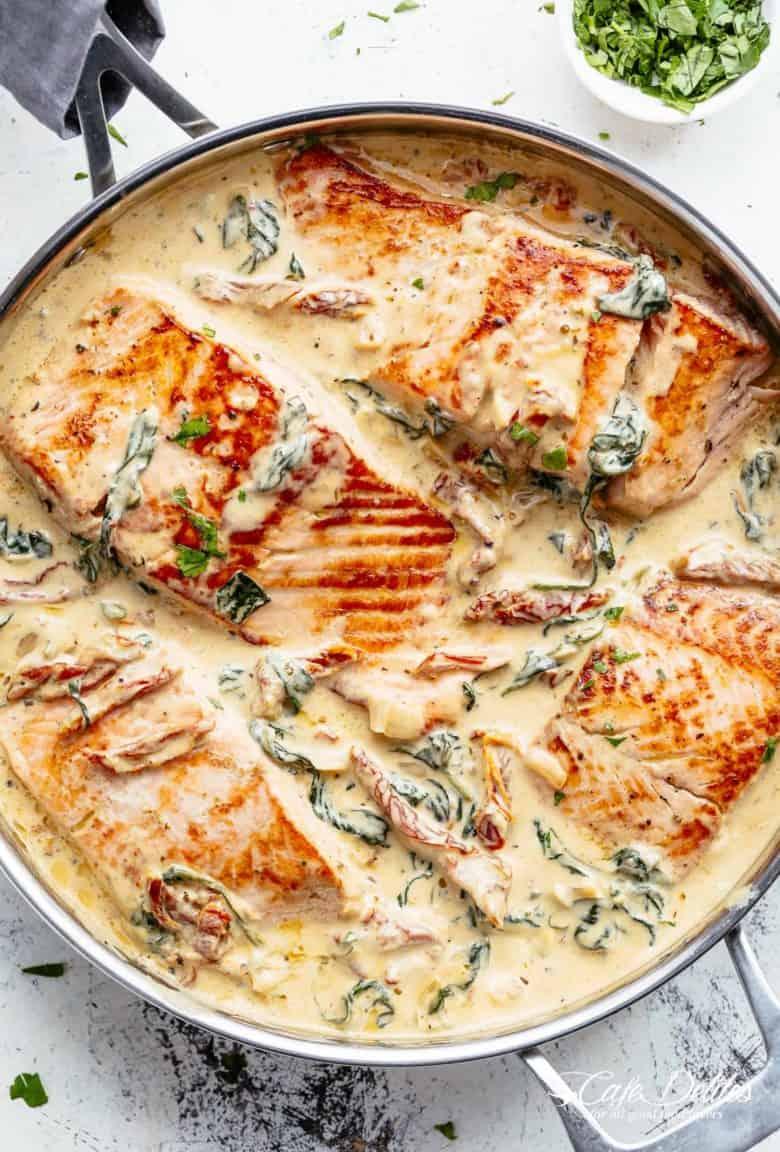 Creamy Garlic Butter Tuscan Salmon | https://cafedelites.com