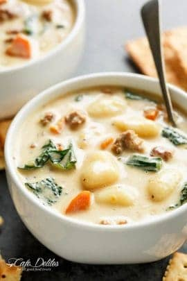 Slow Cooker Creamy Gnocchi Sausage Kale Soup is comfort in a bowl! Almost like a Zuppa Toscana with low fat options and full fat flavours! | cafedelites.com